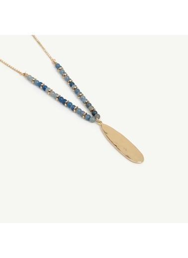 Yargıcı Kadın Uzun Taş Detaylı Kolye 0YKBJ8241X Mavi